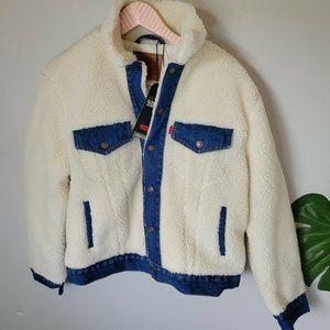 Levi Ex Boyfriend Sherpa Trucker Jacket Sz Small